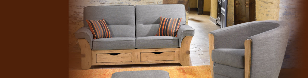 Living room furniture in oak